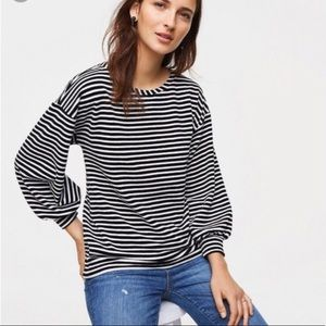 LOFT Black Striped Velvet Puff Sleeve Sweatshirt